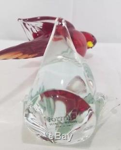 Vintage Murano Glass Exotic Birds Of The World Collection Red Lory