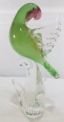 Vintage Murano Glass Exotic Birds Of The World Peach Faced Love Bird