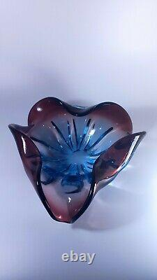 Vintage Murano Glass Flower Shape Bowl Sommerso Style Rich Blue Red Colours