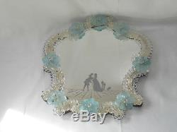 Vintage Murano Glass Italian Decorated And Etched Mirror With Colored Rosettes