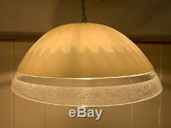 Vintage Murano Glass Pendant Light, Mid Century Handmade Light, Huge