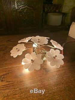 Vintage Murano Glass Pink Flower Ceiling Light, Handblown Chandelier, Mcm, 1970s