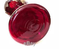 Vintage Murano Glass Ruby Red Gold. Gild Vase Made in Italy 16 3/4 High