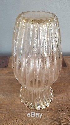 Vintage Murano Glass Seguso Vetri D' Arte Gold Aventurine Scalloped Vase