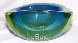 Vintage Murano Glass Sommerso Geode Bowl Blue Green 1960's 1970's