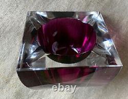 Vintage Murano Glass Sommerso Italy Square Cube Ashtray Bowl Fuchsia Amethyst