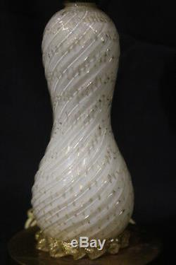 Vintage Murano Glass Table Lamp Swirled White Ribbed Design & Gold Bubbles