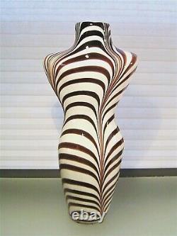 Vintage Murano Glass Torso Vase Zebra Stripe