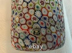 Vintage Murano Glass Vase Millefiori by golden crown E&R Italy 7 Tall 41/4wide