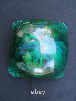 Vintage Murano Gold Leaf Tutti-Frutti Glass Square Bowl Dish 4 3/8