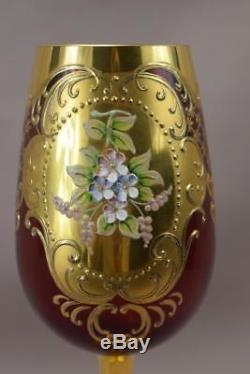 Vintage Murano Gold & Ruby Venetian Glass Vine Wine Goblet Enameled Flowers