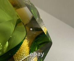 Vintage Murano Green & Amber Square Cube Faceted Bowl/dish/ashtray