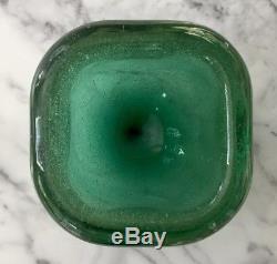 Vintage Murano Green Glass Bowl Carlo Scarpa Bollicine Acid Signed Venini