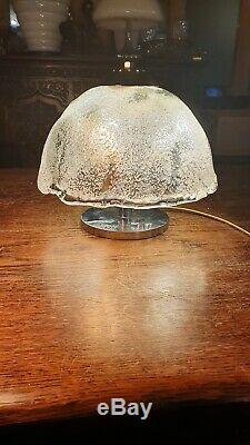Vintage Murano Ice Glass Table Lamp By Angelo Brotto For Esperia 1970s
