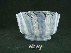 Vintage Murano Italian Art Glass Bowl, Venetian Latticino Ribbon Twist Decor