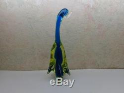 Vintage Murano Italian Art Glass Duck Swan Goose Bird Figurine BLUE GREEN YELLOW