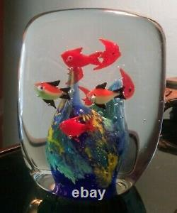 Vintage Murano Italian Art Glass Fish Aquarium Paperweight 8 Fishes