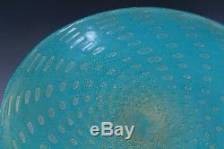 Vintage Murano Italian Art Glass Gold Fleck Turquoise Footed Serving Platter