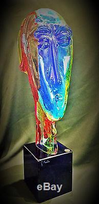 Vintage Murano Italian Art Glass Sculptural Bust by Giorgio Frattin, Ca. 1960's