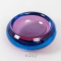 Vintage Murano Italian Art Glass Sommerso Bowl Rose Pink & Deep Blue 7 Diameter