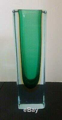 Vintage Murano Italian Art Glass Sommerso Cased Glass Vase Green Yellow Poli