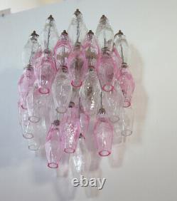 Vintage Murano Italian POLIEDRI glass appliques Carlo Scarpa trasp and pink