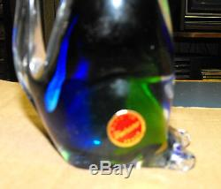 Vintage Murano Italy Glass Blue Green Kitty Pussy Cat Figurine Paperweight 6 1/4