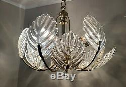 Vintage Murano Italy Leaf Glass Hanging Chandelier Barovier and Toso Hollywood