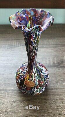 Vintage Murano Italy Millefiori Bud Vase KB Glass Mosaic Flower Multi Color Star