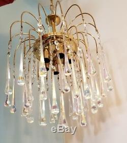 Vintage Murano Italy Tier Chandelier 38 Crystal Glass Angle Teardrop Rod Venini