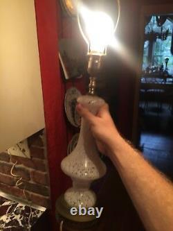 Vintage Murano Italy White Glass Lamp