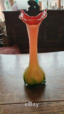 Vintage Murano Jack In The Pulpit Italian Art Glass Vase Twisted Calla Lily