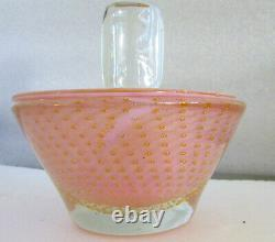 Vintage Murano Large Dresser Jar Pink Controlled Bubbles / Gold Inclusions