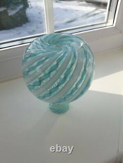 Vintage Murano Latticino Filigrano Art Glass Vase C1960's