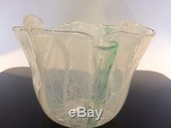 Vintage Murano Latticino Glass Vase
