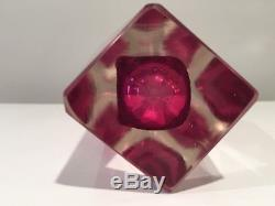 Vintage Murano Mandruzzato Italy Sommerso Faceted Glass Vase
