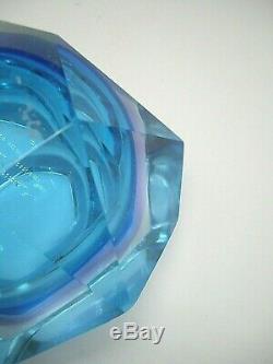 Vintage Murano Mandruzzato faceted geometric sommerso glass geode block bowl