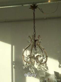 Vintage Murano Marie Therese Glass Covered French Crystal Cage Chandelier, 1950s