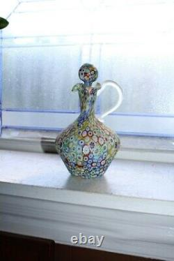 Vintage Murano Millefiori Art Glass Cruet