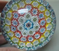 Vintage Murano Millefiori Art Glass Mid-century Paperweight