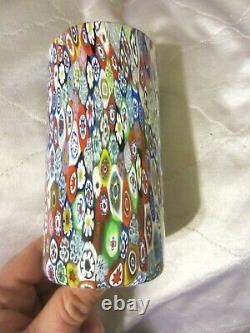 Vintage Murano Millefiori Italian Art Glass 5.75 Tall Tumbler Italy Venetian NR