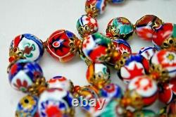 Vintage Murano Millefiori Italian Multicolor Glass Bead Necklace From 29,5'