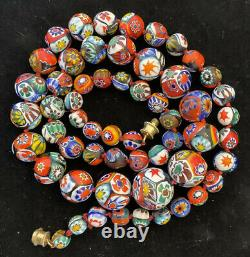 Vintage Murano Millefiori Venetian Art Glass Round Bead Necklace & Earring Set