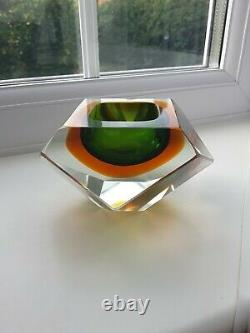Vintage Murano Multi Faceted Geode Bowl Probably By Mandruzzato C1960's