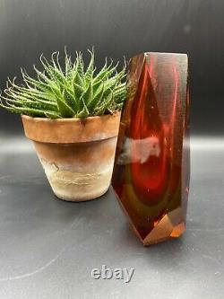 Vintage Murano Multi Faceted Glass Art Vase Pink / Amber