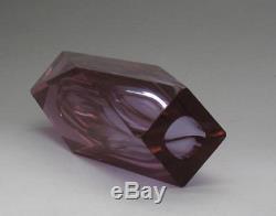 Vintage Murano Neodymium Alexandrite Faceted Art Glass Block Vase 23cm