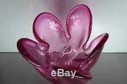 Vintage Murano Pink Cased Art Glass Vase Heavy MID Century Decorative
