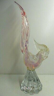 Vintage Murano Pink Vaseline Glass Bird Statue