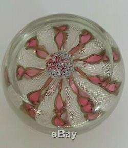 Vintage Murano Pink White Gold Ribbon Lattice Paperweight with Sticker