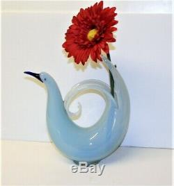 Vintage Murano Sculpture Vase Opaline Blue Glass Bird Of Paradise Seguso d'Arte